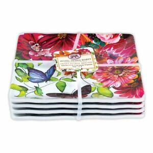 "Set / 4 Michel Design Works Melamine 6"" Canape Plates Sweet Floral Melody"