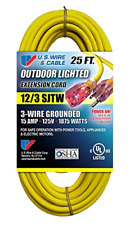 Yellow 3-Wire Grounded Extension Cord with Illuminated Plugs 25-Feet 2 Pk