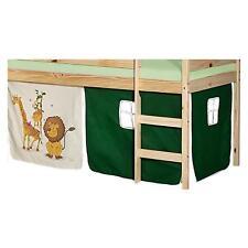 Rideaux cabane pour lit surélevé mi-hauteur tissu coton motif savane vert