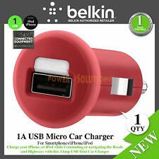 Belkin 1A USB Micro Car Charger Red For Smartphones F8J018CWRED Genuine