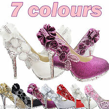 White Beautiful Vogue lace Flowers Crystal High Heels Wedding Shoes VVV