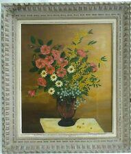 Ancien tableau huile nature morte bouquet de fleurs signé cadre Montparnasse