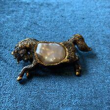 Handmade Baroque Pearl 925 Sterling Silver Horse Pony Brooch