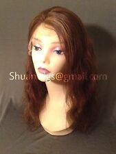 """Remy 100% Human Beach Wave Lace Front Wig 18"""" #4 #27 Highlights 50%"""