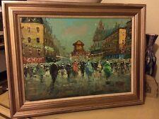 Original art Oil on linen signed LOREN oil painting cafe street people