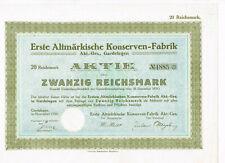 Erste Altmärkische Konserven-Fabrik AG, Gardelegen 1926, 20 RM, ungelocht, VF+