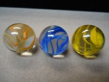 3 Vintage Vitro Agate Cage Style Cateye Shooter Marbles    7/8   Mint +