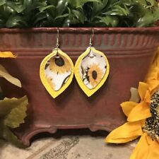 """Faux Leather Earrings 1.75"""" Leaf Bright Summer Yellow & Sunflowers Double Sided"""