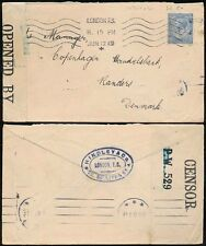 GB WW1 CENSORED to DENMARK 2 1/2d FRANKING 1919 HINDLEY + CO PERFIN + ENVELOPE