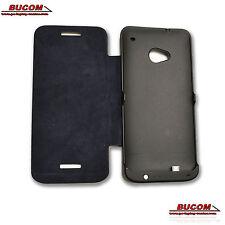 Akku Flip Case Für HTC One M7 Power Bank Batterie Ladegerät Schutz Hülle schwarz
