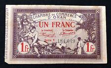 BILLET ALGERIE 1 Franc Chambre Commerce Oran Déliberation 4 Février 1920 SérieV