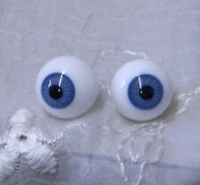 Vintage KAIS German GLASS DOLL EYES sz 18mm BLUE - Antique Bisque or REBORN Doll