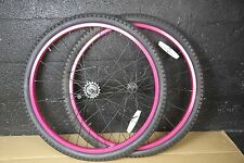Pink Beach Cruiser 24 x 2.125 Coaster Brake Front & Rear Wheels, TIRES + TUBES