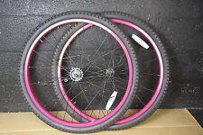 Pink Beach Cruiser 26 x 2.125 Coaster Brake Front & Rear Wheels, TIRES + TUBES