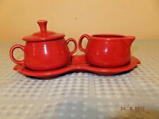 Homer Laughlin Fiesta Scarlet Contemporary Cream and Sugar Set w/Tray