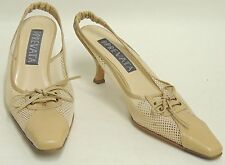 New PREVATA Delco Tan Leather Mesh Classic Heels Shoes Italy Retail $345 Size 7