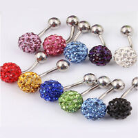 Multi Crystal Ferido Shamballa Diamante Navel Belly Bar Surgical Steel 8mm