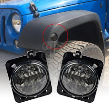 Front Fender Smoked Amber Parking Side Marker LED Light For Jeep Wrangler 07-17