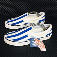 *NEW* Vans Classic Slip On Canvas (Men's Size 11) Blue Stripes Skate Sneakers