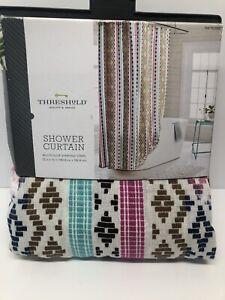 "New Threshold Quality & Design  Shower Curtain Multicolor Diamond Stripe 72""x72"""