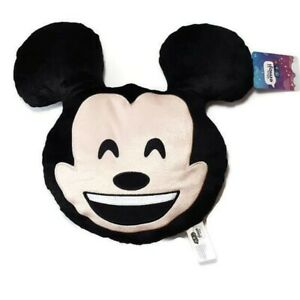 Disney Emoji Mickey Mouse Head Plush Pillow Eyes Closed Grin Travel Nap Lovey