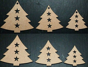 laser cut wooden xmas tree with stars shapes Embellishments Craft 40,50,60 mm