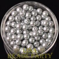 New 144pcs 8mm Round Czech Glass Pearl Loose Spacer Beads Light Gray
