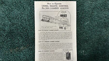 LIONEL # 364 REMOTE CONTROL LUMBER LOADER INSTRUCTIONS PHOTOCOPY