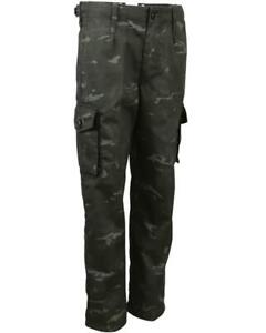 KIDS BRITISH ARMY STYLE COMBAT TROUSERS in BTP BLACK CAMO
