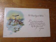 Vintage Postcard A New Year Wish Poem, Village Scene With A Church