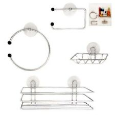 Chrome Wire Bathroom Shower Accessories Set Kit Modern Suction Easy Fitting DCUK