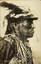 Native American Indian Yakima Chief Close-Up Detail Real Photo Postcard G19