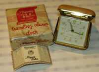 VTG PHINNEY-WALKER TRAVELING WINDUP ALARM CLOCK WITH BOX & INSTRUCTIONS! GERMANY