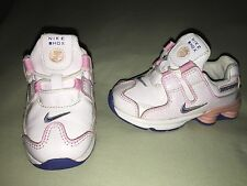 USED INFANT SZ 6C NIKE SHOX WHITE PINK FLOWERS SO CUTE! PATENT LEATHER
