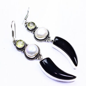 Citirne Pearl Black Onyx Fashion Jewelry .925 Silver Plated Earrings  A00601