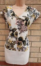 G21 CREAM YELLOW FLORAL PINK SUMMER BAGGY BLOUSE TUNIC TOP VEST T SHIRT 14 L