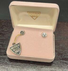 14k white Gold Stud Earrings Beverly HILLS Gold PRE OWNED 1.02 GRAMS