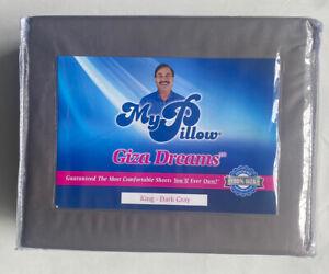 NEW My Pillow King Dark Gray 100% Giza Egyptian Cotton Dreams Bed Sheet Set