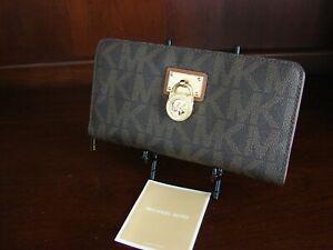 MICHAEL KORS Large Hamilton Brown Luggage SIGNATURE PVC Wallet Clutch MK
