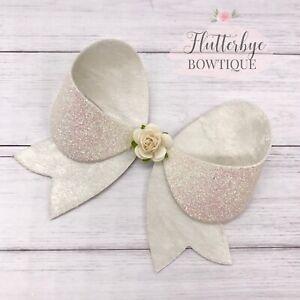 Flower Embellished Bow, White Glitter Bow