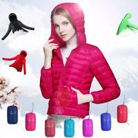 Winter Women's Ultra Light Down Jacket 90% Duck Down Hooded Jackets Long Sleeve