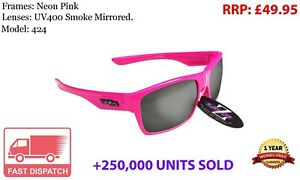 RayZor Uv400 Pink Sports Wrap Sunglasses Smoked Mirrored Lens (424)