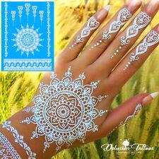 TEMPORARY TATTOO WHITE HENNA KIT STICKERS, MANDALA, MEHNDI, FLOWER, HAND, WOMENS