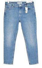 NEW Topshop BAXTER SLIM LEG Mid Rise Blue Ankle Crop Jeans Size 12 W30 L30