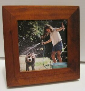 3X3 Walnut Wood Picture Photo Frame With Burlap Mat 2x2