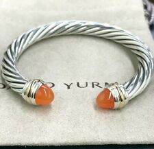 David Yurman Sterling Silver and 14k Yellow Gold Carnelian 7mm Cable