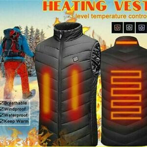Electric Vest Heated Jacket USB Body Warmer Windproof Gilet Coats Men Women UK