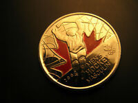 Canada  2009 Vancouver 2010 Olympics Men's Hockey  coloured 25 Cent Coin.