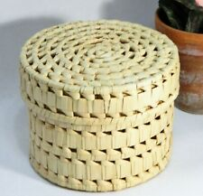 Basket/Natural/Woven Grass/Round Box/Lidded/Storage/Display/Cottage/BoHo Chic