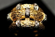 Diamond 18k Yellow/White Gold Cocktail ring Approx. 13 grams 3 Tree Branch Look